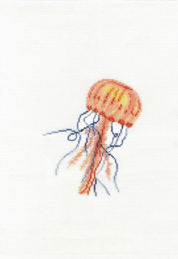 Gentle Jellyfish Cross Stitch Kit with Hoop- BK1872